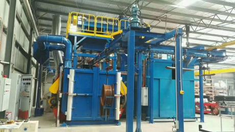 Hanger Chain Shot Blasting Machine Combined A Spray Coating Chamber Finished Installation And Commissioning In Australia